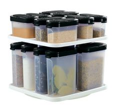 The #Tupperware Shaker with Carousel is perfect for to get all those spices organized available in red or black on sale till Jan 31, 2014 #kitchen #organzie