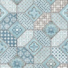 Moroccan Tile Effect Wallpaper Luxury Blue & White Paste The Wall Vinyl Erismann Backsplash Wallpaper, Copper Wallpaper, Brick Wallpaper, Glitter Wallpaper, Geometric Wallpaper Decor, Striped Wallpaper, Blue Moroccan Tile, Plastic Shower Wall Panels, Ceiling Cladding