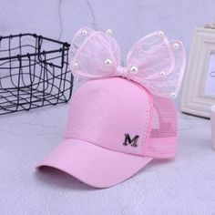 b1390f9c summer children Mesh cap Spring Summer Children Baseball Cap Girls Snapback  Hip Hop Caps Rabbit Ear Pearl Big Bow Kids Sun Hat