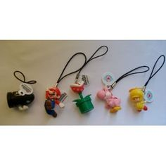 5 pc Super Mario Bro. & Character Rubber Phone Strap Charms
