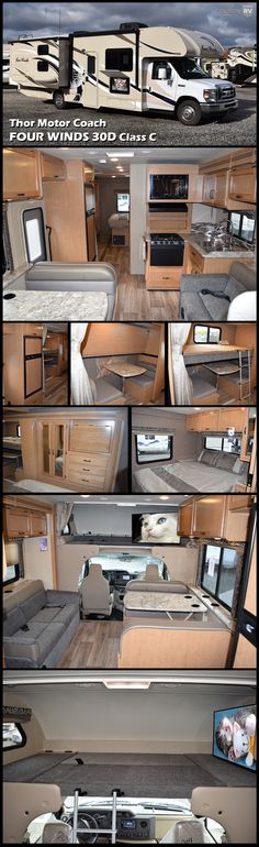 This is the perfect coach for your family on the go! The 2017 Thor Motor Coach FOUR WINDS 30D is a great bunkhouse model Class C Motorhome. It features an open living space with a jackknife sofa and kitchen as well as a dinette that converts into a bed. Your kids will love the bunk beds, especially the ability to convert the lower bunk into a kid's dining table with bench seating where they can enjoy a snack or play a game. The cab over bunk adds even more sleeping space for family or…