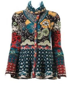 I like the different scale of motifs, flourish at bottom, colors and the high collar