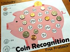 Piggy Bank Coin Recognition Printable | Totschooling - Toddler and Preschool Educational Printable Activities