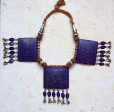 Multan necklace with 3 enameled pendants