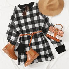 To find out about the Buffalo Plaid Drop Shoulder Sweater Dress Without Belted at SHEIN, part of our latest Sweater Dresses ready to shop online today! Girly Outfits, Stylish Outfits, Cool Outfits, Fall Fashion Skirts, Fashion Outfits, Women's Fashion, Fashion Drawing Dresses, Kawaii Clothes, Complete Outfits