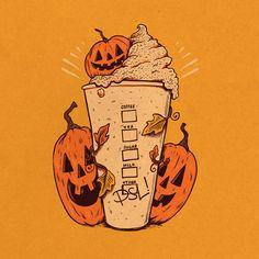 "samdunn: "" It's Pumpkin season! True story, I've never actually tried a Pumpkin Spice Latte :/ "" Halloween Horror, Halloween 2020, Fall Halloween, Happy Halloween, Halloween Labels, Halloween Stickers, Halloween Stuff, Halloween Crafts, Halloween Makeup"