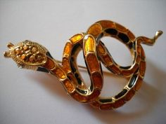 Vintage Goldtone Rhinestone Faux Topaz Snake Brooch Pin | eBay