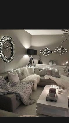 Decor Home Living Room, Cozy Living Rooms, Living Room Grey, Apartment Living, Interior Design Living Room, Home And Living, Living Room Designs, Living Room Ideas Sectional Couch, Gray Room Decor