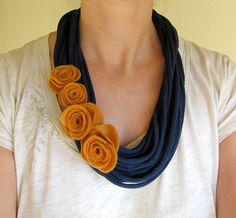 Felt rose & t-shirt layered scarf necklace