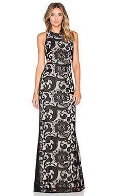Alice + Olivia Adel Dress in Black & Natural