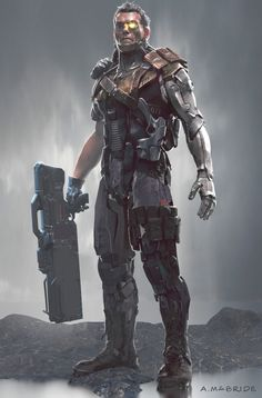 Deadpool 2 : Another early concept for Cable character, Aaron McBride Marvel Comics Art, Marvel Heroes, Marvel Avengers, X Men, Marvel Concept Art, Cable Marvel, Cyberpunk Character, Science Fiction, Dc Movies