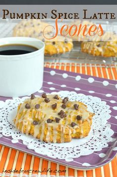 Pumpkin Spice Latte Scones - soft pumpkin scones drizzled with a coffee glaze from @Jocelyn (BruCrew Life)