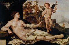 Maarten Jacobsz van Heemskerck (1498-1574). Венера и Амур.1545 Oil on wood, 108 x 158 cm Wallraf-Richartz-Museum, Cologne