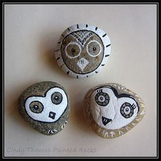 Black & white owls painted rocks