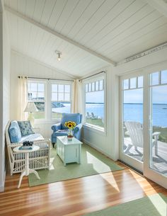 DiMauro Architects Beach bungalow in Portsmouth, Rhode Island designed by Ronald F. Photo by Nat Rea (via House of Turquoise). Beach Cottage Style, Beach Cottage Decor, Coastal Cottage, Coastal Living, Lake Cottage, Cozy Living, Beach Cottage Kitchens, Coastal Farmhouse, Cottage Ideas