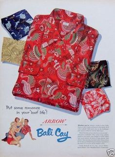 1952 PRINT AD Arrow Bali Cay Tropical Print Shirts for Men Guy Tended by 2 Girls
