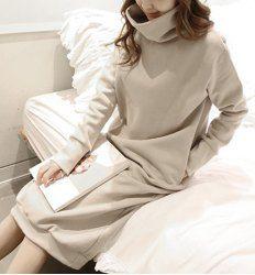 Simple Turtle Neck Long Sleeve Solid Color Pocket Design Women's Dress