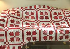 Bear's Paw Quilt with and Piano Key Border Two Color Quilts, Blue Quilts, Scrappy Quilts, Bear Paw Quilt, Quilt In A Day, Red And White Quilts, Sampler Quilts, Bear Paws, Doll Quilt