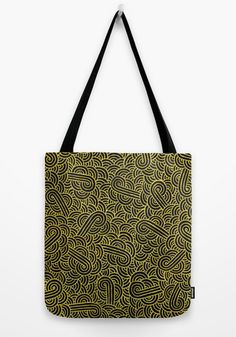 """""""Black and golden zentangles"""" Tote Bag by Savousepate on Society6 #totebag #bag #pattern #abstract #zentangles #doodles #scrolls #gold #black #blingbling"""