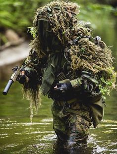"""When a man is prey to his emotions, he is not his own master. Tactical Armor, Larp Armor, Airsoft Sniper, Sniper Gear, Military Guns, Military Art, Indian Army Wallpapers, Ghillie Suit, Survival"