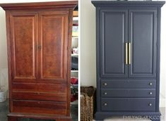 My Armoire Makeover: Painting It Navy - Emily A. Clark- My Armoire Makeover: Painting It Navy – Emily A. Clark painting a traditional cherry armoire in /benjamin_moore/ Hale Navy - Home Diy, Bedroom Furniture Makeover, Painted Bedroom Furniture, Furniture Diy, Furniture Projects, Refurbished Furniture, Home Furniture, Armoire Makeover, Home Decor