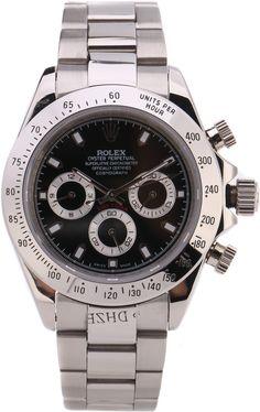 Часы Rolex Daytona серебряные, черный циферблат