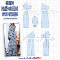 KiVita MoYo : CONJUNTO PALAZZO CON TABLON - TOP CON UN HOMBRO. Dress Making Patterns, Easy Sewing Patterns, Vintage Sewing Patterns, Fashion Sewing, Diy Fashion, Gothic Fashion, Diy Clothing, Clothing Patterns, Look Vintage