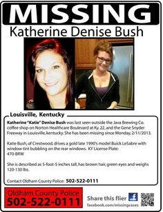 "Katherine ""Katie"" Bush, 22, missing since 2/11/2013 from Crestwood, KY. Found safe, called parents."