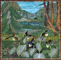 Forest designed by Yulia Hanansen  Great Lakes Ecosystems Mosaic Murals at Matthaei Botanical Gardens