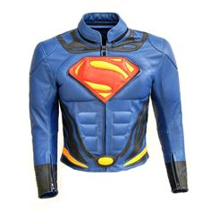 New Men Handmade Superman Motorcycle Leather Jacket with CE armors #Handmade #JacketsCoatsCloaks