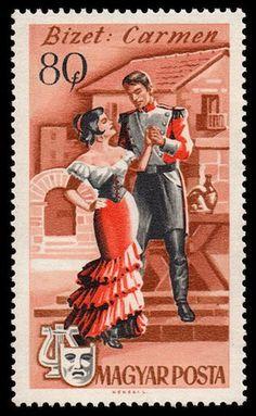 Bizets Carmen auf ungarischer Briefmarke von 1967