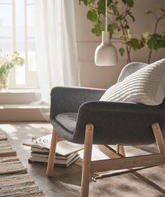 VEDBO Armchair, Gunnared dark gray, Height including back cushions: 29 - IKEA Cosy Bedroom, Ikea Bedroom, Bedroom Furniture, Bedroom Ideas, Birchwood Furniture, Ikea Interior, Ikea Family, Fabric Armchairs, Furniture Collection