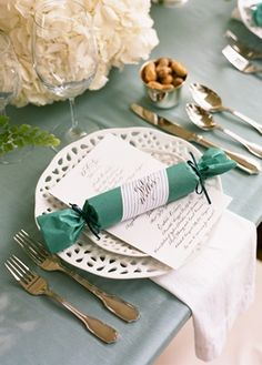 decor, favors, place setting, modern , place settings, teal, white, Spring, romantic , christmas, reception, table, vintage, {the, wedding, place