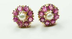 Vintage 14k Gold Genuine Ruby Earrings Vintage by BelmarJewelers