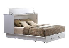 Arason Enterprises Creden-ZzZ Queen Cabinet Bed in Cottage White Queen Murphy Bed, Murphy Bed Desk, Murphy Bed Plans, Murphy Beds, 6 Inch Mattress, Queen Size Sheets, Free Standing Cabinets, Thing 1, Cabinet Styles