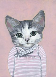 Cats in clothes by Heather Mattoon. On the blog today! http://www.artisticmoods.com/heather-mattoon/
