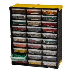 The TAFCO Small Parts Organizer keeps you neat and organized conveniently storing your small parts and craft supplies. Use as a free-standing organizer or mount to the wall using the rear keyhole Plastic Storage Cabinets, Lego Storage, Crate Storage, Tool Storage, Lego Table With Storage, Playroom Storage, Wire Storage, Plastic Drawers, Large Drawers