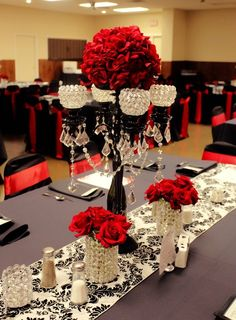 Red and damask wedding! #wedding #reception but with royal blue, of course