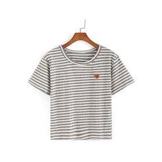SheIn(sheinside) Striped Bear Patch T-shirt (€8,27) ❤ liked on Polyvore featuring tops, t-shirts, black, cotton t shirt, black short sleeve t shirt, summer t shirts, black striped t shirt and stretch t shirt