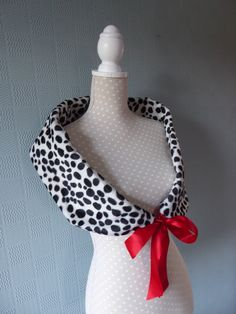 Black and white snood scarf cow print cowl white black spotted velour loop