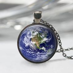 Earth Necklace Solar System Pendant by lalapinkdesigns on Etsy, $9.00