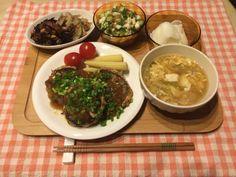 豆腐ハンバーグ かき玉スープ カブの浅漬け 山芋オクラきゅうり ひじき煮 れんこんキンピラ