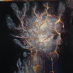 Agostino Arrivabene, Arsa terra. Oil on brass. 2014