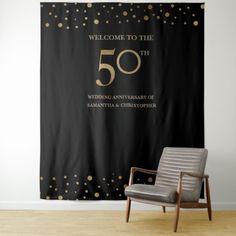 50th Anniversary Wedding Photo backdrop Gold black