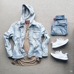 WEBSTA @ timothykoh_ - Red Tags. #outfitgridJacket: @allsaintslive Distressed denim jacketHoodie: @acnestudios Johna hoodieTee: @424fairfax l/s caramel teeDenim: @apc_paris x Kanye Stonewashed denimSneakers: @adidas Ultraboost