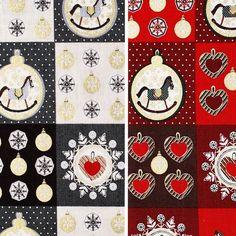 Weihnachtsstoff Schaukelpferd   #Dessins #Kinderstoffe #Stoffe #Nähen #DIY #Motive #Weihnachten