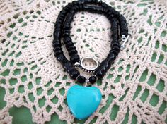 WEEKEND SALE Turquoise Heart Black Bead Necklace by MommaGoddess