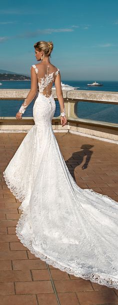 mermaid wedding dress with long bare sleeves and . - Wedding and bride - mermaid wedding dress with long bare sleeves and … – # bare dress - Dream Wedding Dresses, Bridal Dresses, Mermaid Wedding Gowns, Bridesmaid Dresses, 2017 Bridal, 2017 Wedding, Fall Wedding, Wedding Lace, Wedding Cards