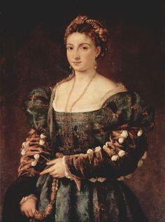 Tizian.  La Bella (Porträt einer Frau, Isabella d'Este, oder Eleonara Gonzaga?). Um 1536, Öl auf Leinwand, 100 × 75 cm. Florenz, Palazzo Pitti. Italien. Renaissance.  KO 00925