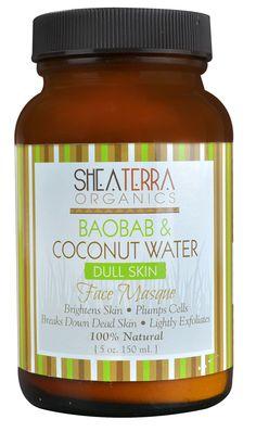 Shea Terra Organics Dull Skin Face Masque Baobab &  Coconut Water. cruelty free.